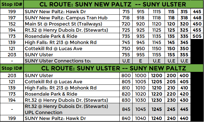 CL ROUTE: WEEKDAY ONLY