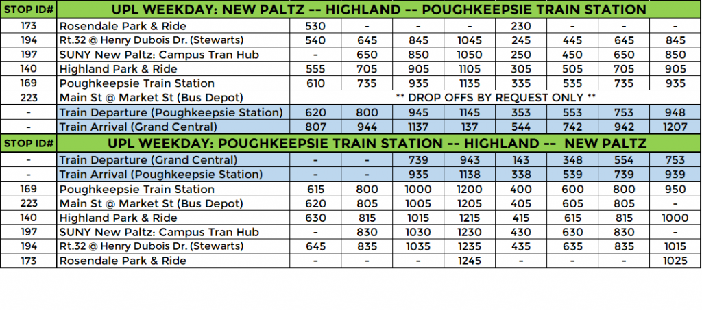 UPL ROUTE: WEEKDAY
