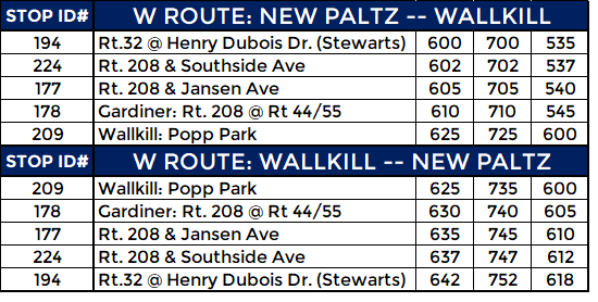 W ROUTE: WEEKDAY