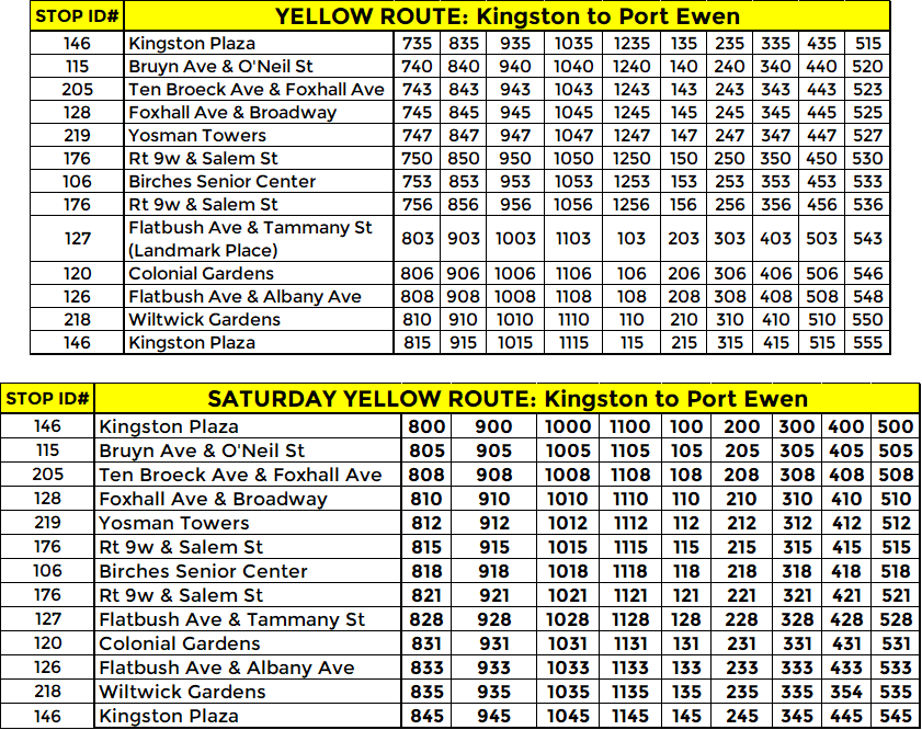 YELLOW ROUTE: WEEKDAY & SATURDAY