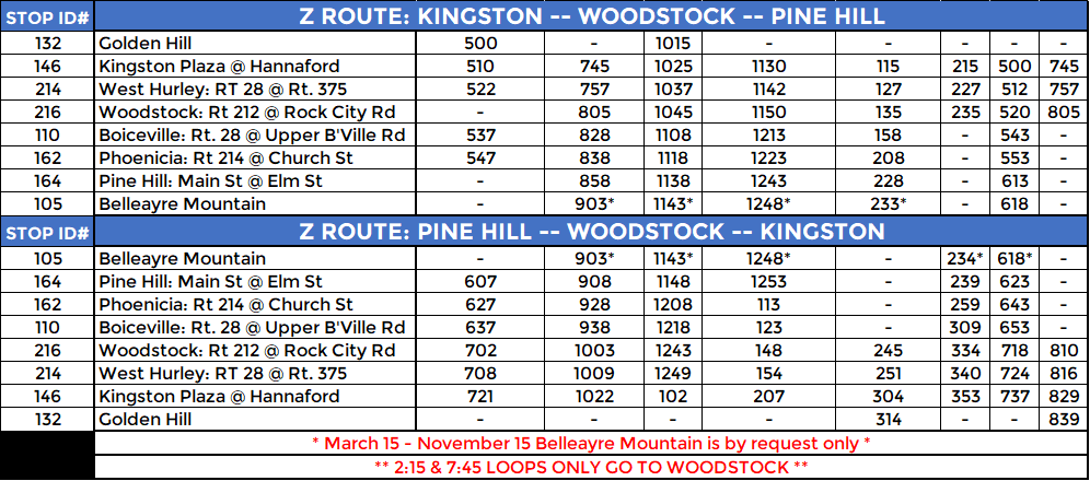 Z ROUTE: WEEKDAY